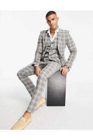 ASOS Pantaloni da abito skinny in misto lana, colore a quadri scozzesi