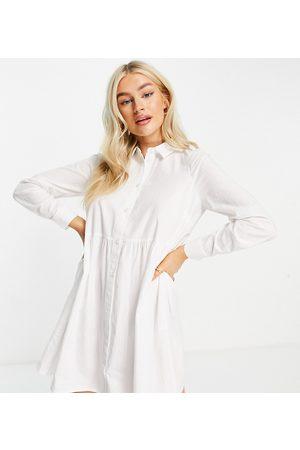 ASOS ASOS DESIGN Petite - Vestito camicia stile grembiule corto in cotone