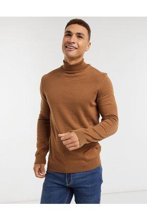 New Look Maglione dolcevita lavorato color cammello
