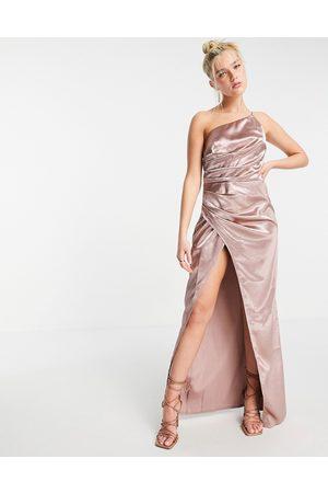 Little Mistress Vestito lungo monospalla drappeggiato in raso con spacco, colore ostrica