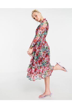 Little Mistress Vestito skater midi a maniche lunghe con volant e stampa con fiori rosa