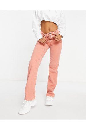 ASOS Jeans dritti anni '90 a vita medio alta in tessuto piqué a coste color corallo