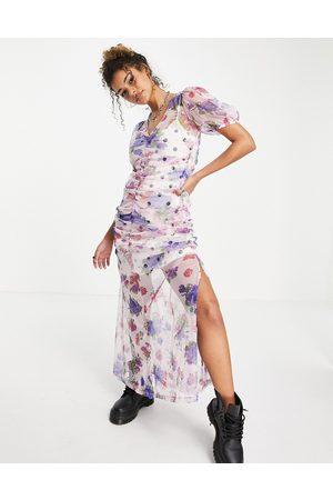 ASOS Vestito lungo con dettagli arricciati e stampa mista