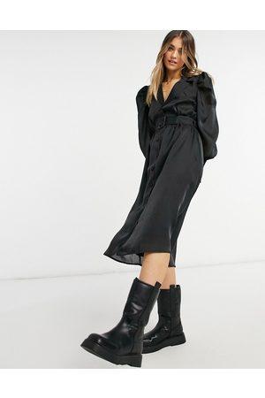 Object Vestito midi in raso con cintura