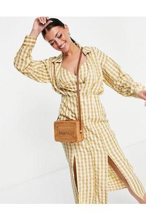 ASOS Donna Vestiti longuette - Vestito camicia midi a quadretti con top a canottiera e bottoni