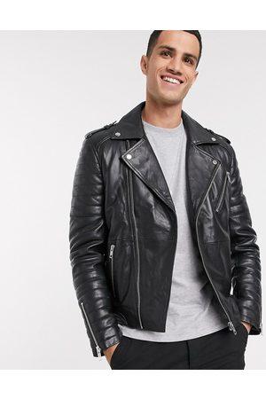 Barneys Originals Barney's Originals - Giacca biker in pelle nera con cerniera lampo