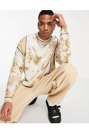 ASOS T-shirt oversize a maniche lunghe in tessuto organico beige tie dye
