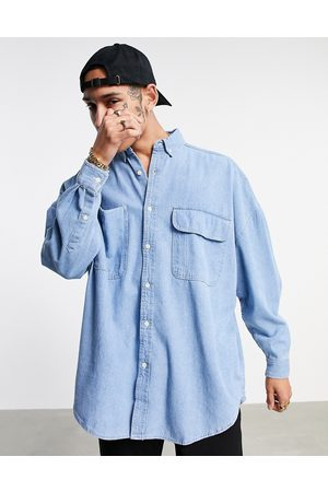 ASOS Camicia oversize in denim con lavaggio medio vintage