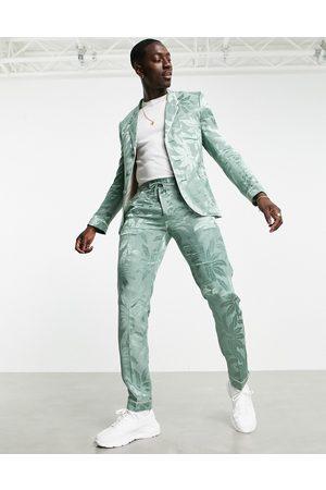 ASOS Pantaloni da abito stile pigiama slim in rasatello a fiori verdi
