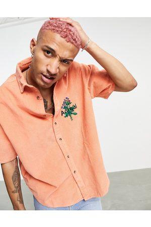 ASOS Actual - Camicia oversize squadrata anni '90 a coste larghe con dettaglio ricamato con fiori