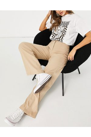 Bershka Donna Leggings & Treggings - Pantaloni dad sartoriali a fondo ampio extra larghi cammello-Neutro