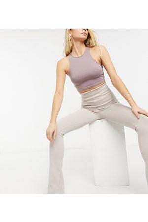 AsYou Pantaloni a zampa a vita super alta color cammello-Neutro