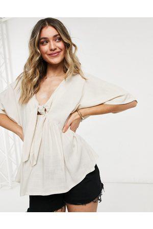 ASOS Top stile kimono con allacciatura sul davanti colore naturale-Neutro