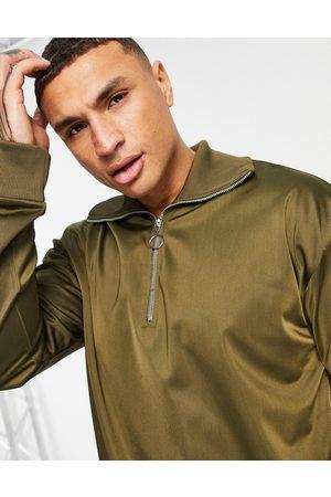ASOS Felpa oversize in tricot di poliestere con zip corta