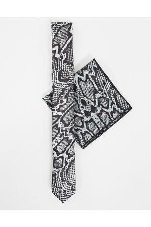 Bolongaro Completo cravatta skinny pitonata e fazzoletto da taschino