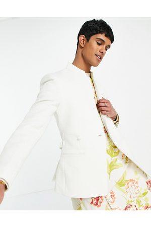 ASOS Wedding - Giacca da abito a portafoglio slim fit in jacquard