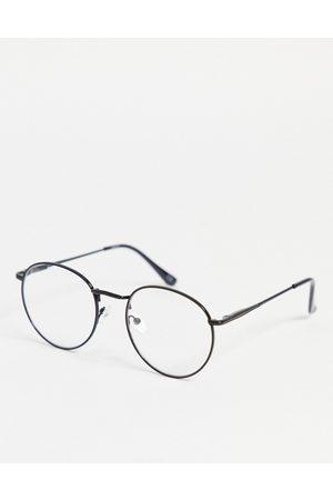 ASOS Occhiali rotondi alla moda neri con lenti trasparenti