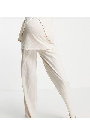 ASOS ASOS DESIGN Maternity - Mix & Match - Pantaloni del pigiama dritti in jersey crema