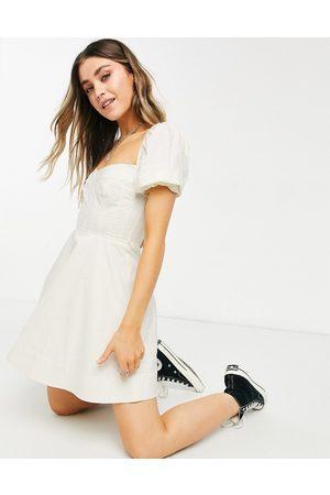 Bardot Vestito corto con maniche a sbuffo e dettaglio a corsetto limone