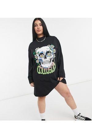 COLLUSION Plus - Vestito camicia con stampa di teschio