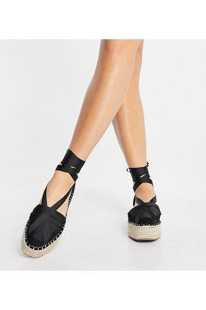 ASOS Donna Sandali con plateau - Junior - Espadrilles flatform allacciate alla caviglia con pianta larga nere