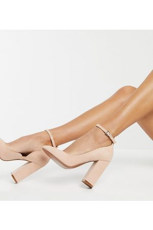 ASOS Donna Scarpe con i tacchi - Wide Fit - Placid - Scarpe a pianta larga beige con tacco alto e largo-Neutro