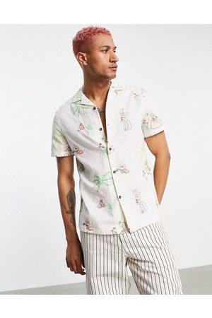 ASOS Uomo Camicie a maniche corte - Camicia regular fit in misto lino con ricamo di sombrero-Neutro