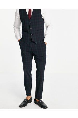 ASOS Pantaloni da abito slim con motivo scozzese Blackwatch- navy