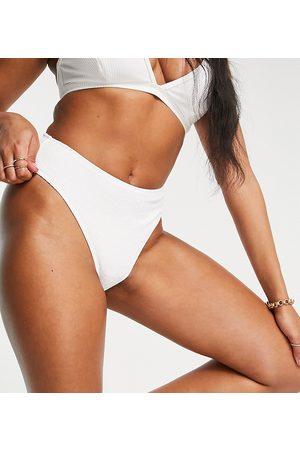 Ivory Rose Donna Bikini - Coppe Grandi - Mix and Match - Slip bikini a vita alta bianchi sgambati in tessuto arricciato