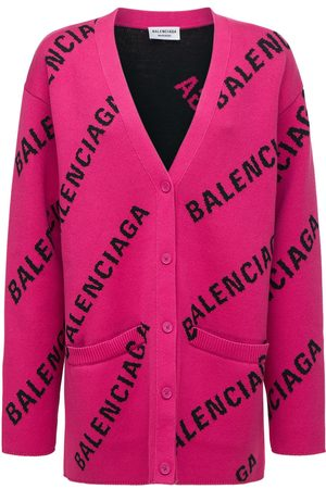 Balenciaga Donna Cardigan - Cardigan In Maglia Di Misto Cotone Con Logo