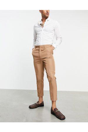 ASOS Pantaloni da abito affusolati in tessuto tonic color cammello-Neutro