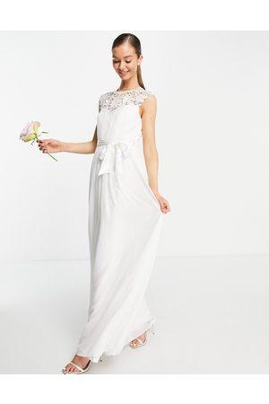 Little Mistress Vestito da sposa lungo color avorio con dettagli in pizzo
