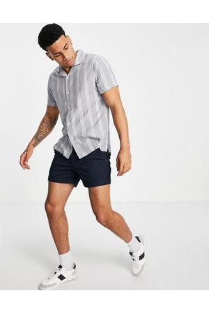 Abercrombie & Fitch Uomo Camicie a maniche corte - Camicia a maniche corte con colletto rever a righe testurizzate