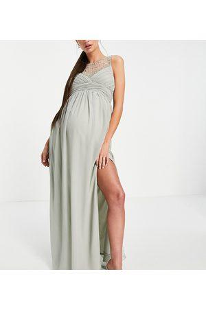 Little Mistress Maternity Donna Vestiti lunghi - Vestito lungo salvia a pieghe con carré decorato