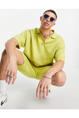 ASOS T-Shirt stile polo in maglia e misto lino, colore in coordinato