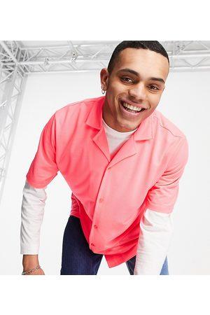Collusion Camicia oversize in jersey di piqué rosa fluo in coordinato