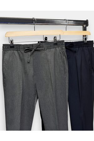 Topman Confezione da 2 joggers skinny grigio antracite e navy