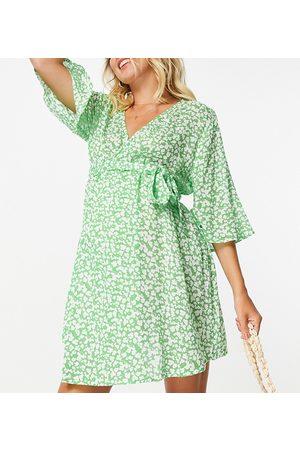 ASOS ASOS DESIGN Maternity - Copricostume a portafoglio con cintura verde a fiorellini