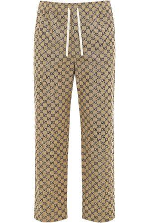 Gucci Pantaloni In Tela Gg Con Pelle