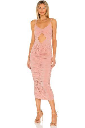 Michael Costello X REVOLVE Kara Midi Dress in - Blush. Size L (also in XXS, XS, S, M).