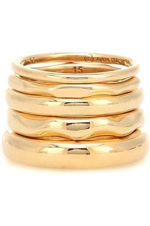 Bottega Veneta Set di 5 anelli in argento bagnati in giallo 18kt