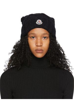 Moncler Black Wool Pompom Logo Beanie