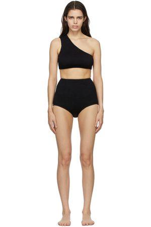Bottega Veneta Black Crinkle One Shoulder Bikini