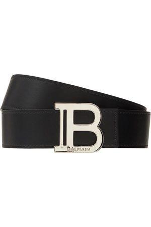Balmain Cintura In Pelle Con Fibbia Logo 3.5cm