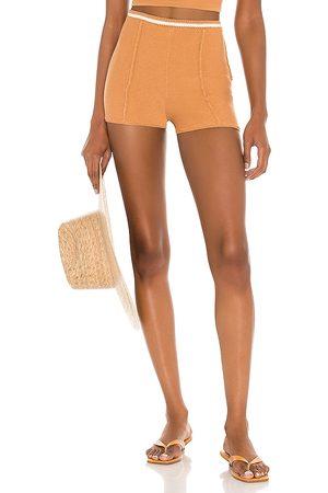 Camila Coelho Claudine Crochet Shorts in - Tan. Size L (also in XS, S, M).