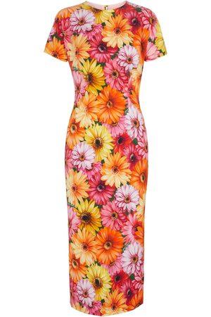 Dolce & Gabbana Abito midi in seta stretch con stampa floreale