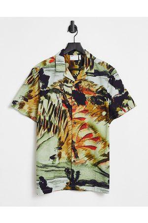 ASOS DESIGN Camicia comoda con rever e stampa in cotone fiammato-Neutro
