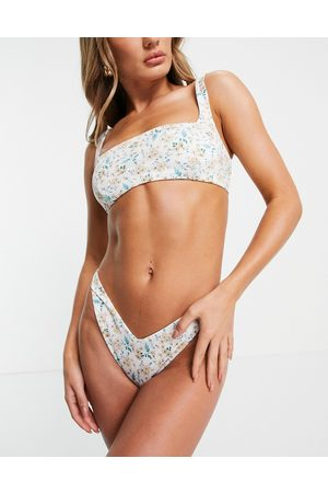 ASOS DESIGN Mix and Match - Slip bikini a vita bassa a V e sgambati con stampa a fiori misti