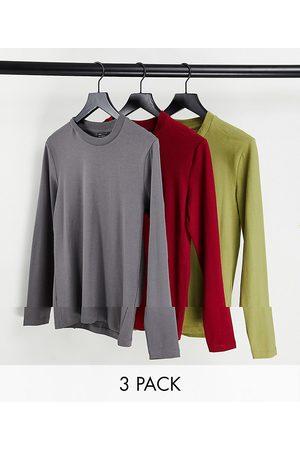 ASOS Confezione da 3 magliette attillate a maniche lunghe
