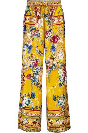 Camilla Donna Pantaloni a palazzo - Pantaloni in faille di seta con stampa